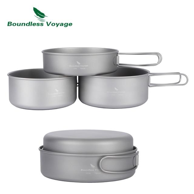 Boundless Voyage Titanium Pan Sets Outdoor Camping Cooking Pot With Folding-Handle Potable Picnic Cookware Ti1575B-Ti1577B