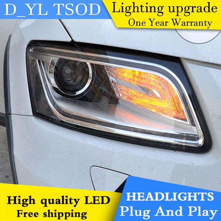 D YL Car Styling for Audi Q5 Headlights 2013 2015 Q5 LED Headlight DRL Lens Double