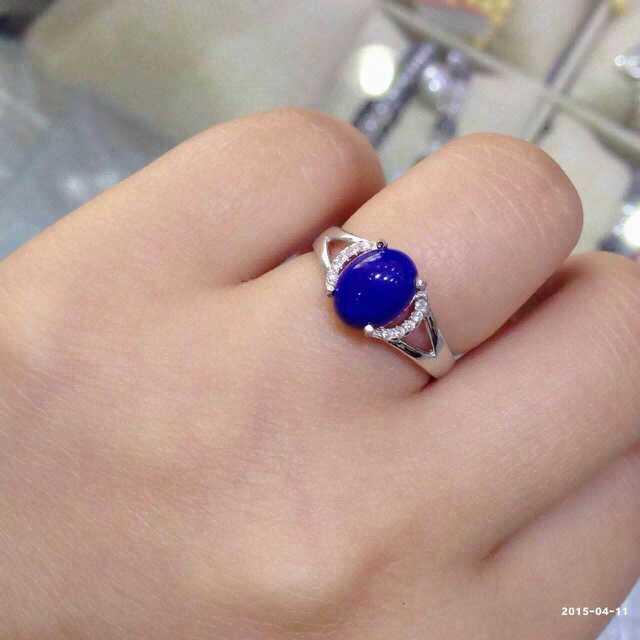 Natural blue lapis lazuli gem Ring Natural gemstone ring S925 sterling silver trendy simple elegant round women gift Jewelry