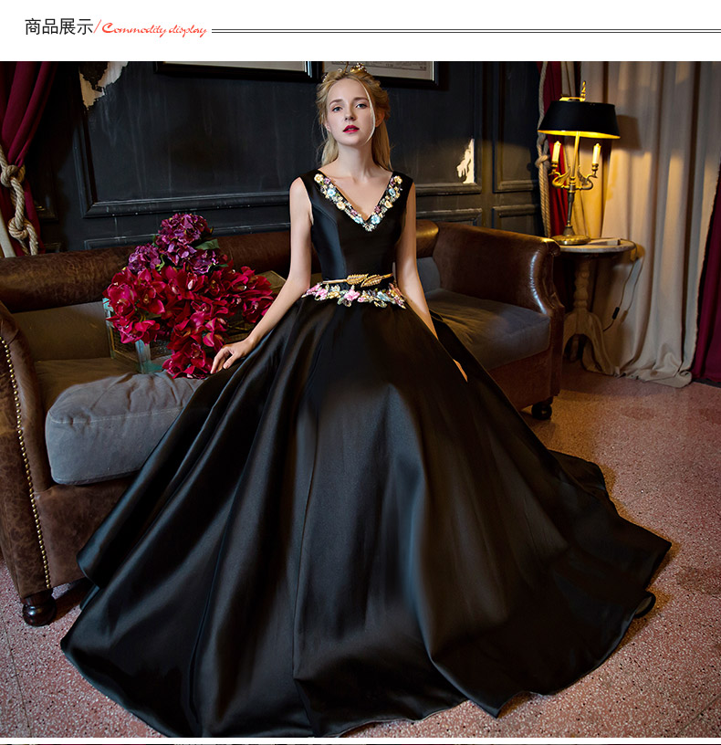 luxury black satin v neck embroidery ball gown medieval Renaissance ...