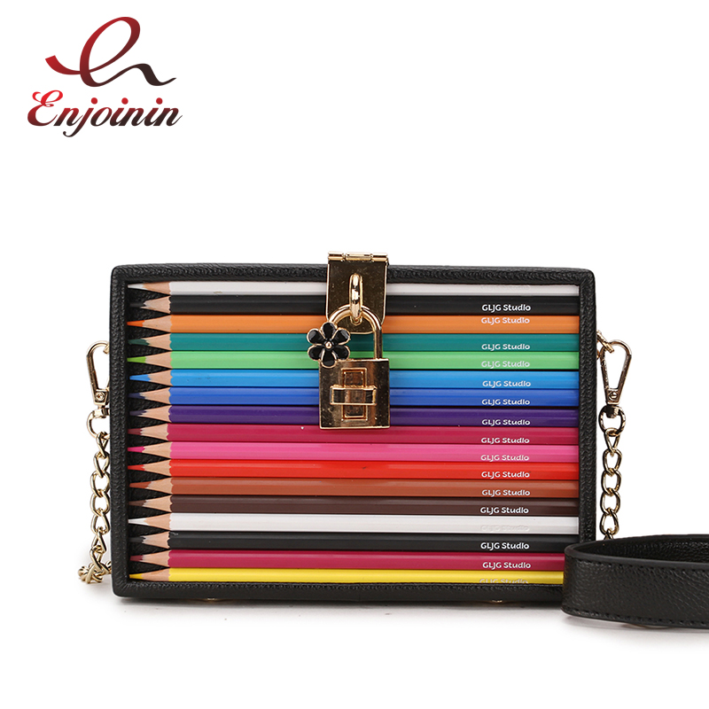 New Arrival Color Pencil Design Box Style Pu Ladies Party Clutch Bag Chain Purse Handbag For Women Crossbody Mini Messeng Bag