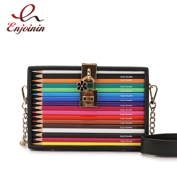 New Arrival Color Pencil Design Box Style Pu Ladies Party Clutch Bag Chain Purse Handbag For Women Crossbody Mini Messeng Bag ethnic style women s crossbody bag with hollow out and color matching design
