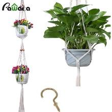 2 Set/4 pcs Plant Flowers Hanger Pot Holder Polypropylene Fiber Rope Handmade decorative case Garden Home Plant Display