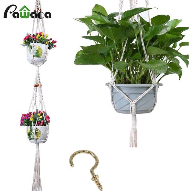 2 Set 4 pcs Tanaman Bunga Gantungan Pot Pemegang kasus Serat Polypropylene Tali  Buatan Tangan 5ad95381bf