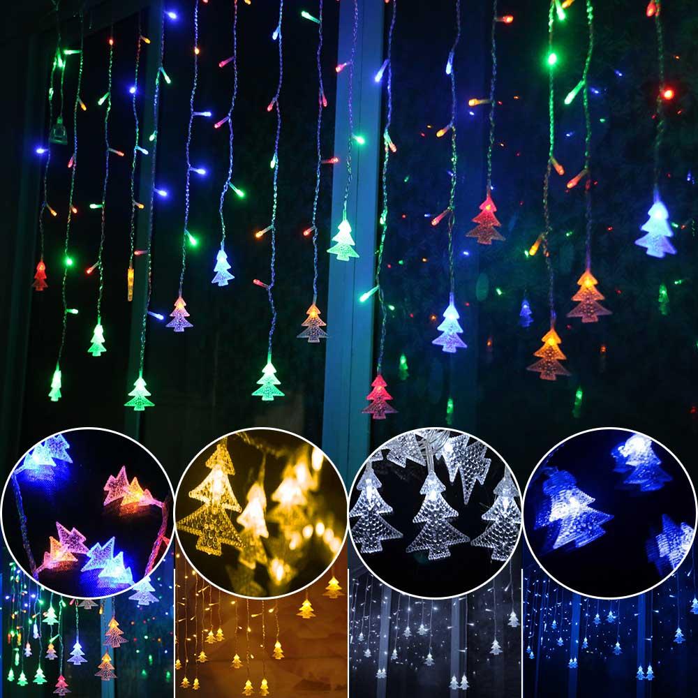 Novelty 96LED AC220V/110V EU Icicle ChristmasTree Party String Lamps Led Christmas Lights Fairy Wedding Garden Pendant Garland