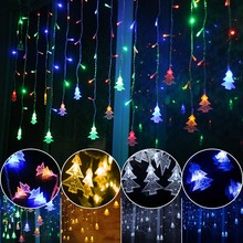 Novelty 96LED AC220V/110V EU Icicle ChristmasTree Party string lamps led Christmas Lights fairy wedding garden pendant garland(China)