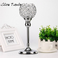 ISHOWTIENDA Silver Modern Crystal Lantern Candle Cup Holders for Valentines Day Dining Restaurant Coffee Table Home Decor 0117