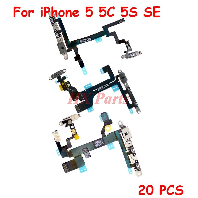 20 PCSLot Power + Volume Flex Cable For iPhone 5 5C 5S  Mute Button Flex Cable with Metal Bracket Replacement Parts