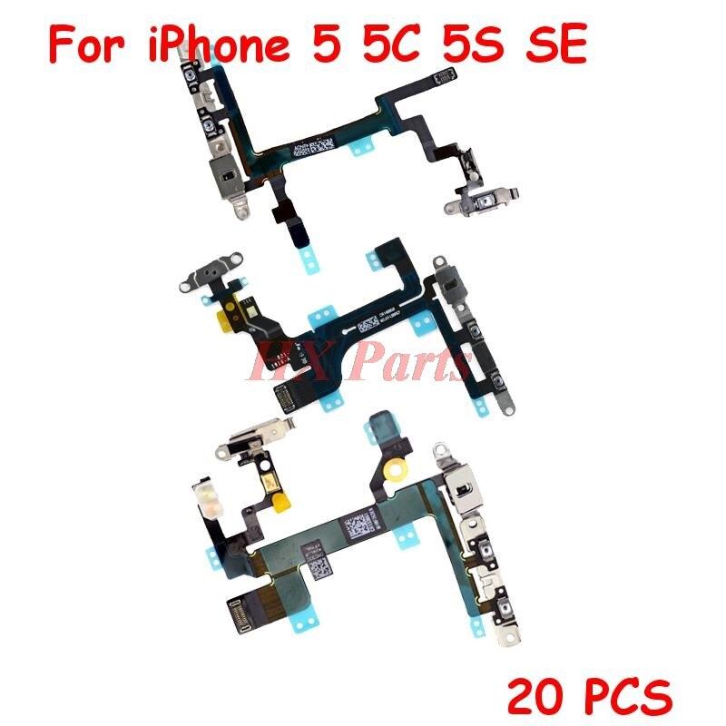 20 PCS/Lot Power + Volume Flex Cable For iPhone 5 5C 5S  Mute Button Flex Cable with Metal Bracket Replacement Parts