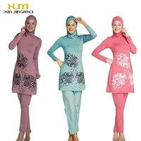 2017 Plus Size Muslim Swimwear Women Modest Floral Print Full Cover Swimsuit Islamic Hijab Islam Burkinis Beachwear Bathing Suit