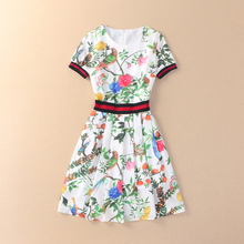 EXCELLENT QUALITY 2017 Summer Newest Fashion  Dress Women's Short Sleeve Charming Retro Floral Printed Casual Dress
