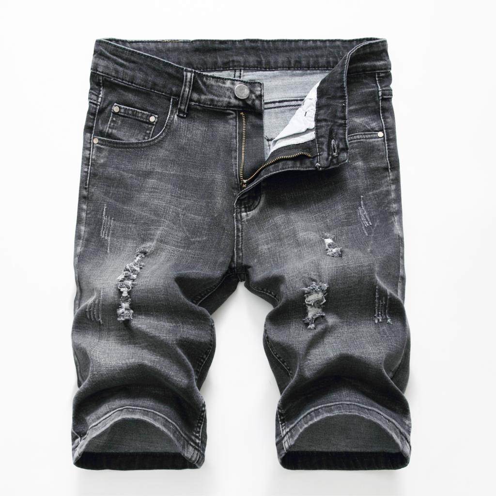 Summer Casual Shorts Men Short Trousers Fashion Distressed Straight Slim Denim Shorts Male Black Ripped Jeans Shorts Knee Length