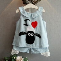 Girls Summer Clothing Set Bow Cartoon Sheep Lace Pullover Short Jeans Blue For Girl Age 2