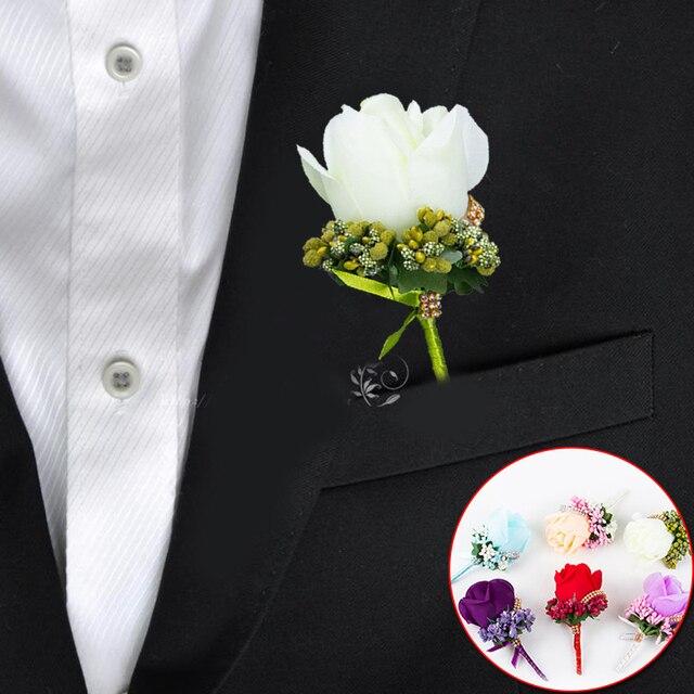Gading Merah Pria Terbaik Korsase untuk Pengantin Pria Pengiring Pria Sutra Rose Bunga Pernikahan Perapi Boutonnieres Aksesoris Pin Bros Dekorasi