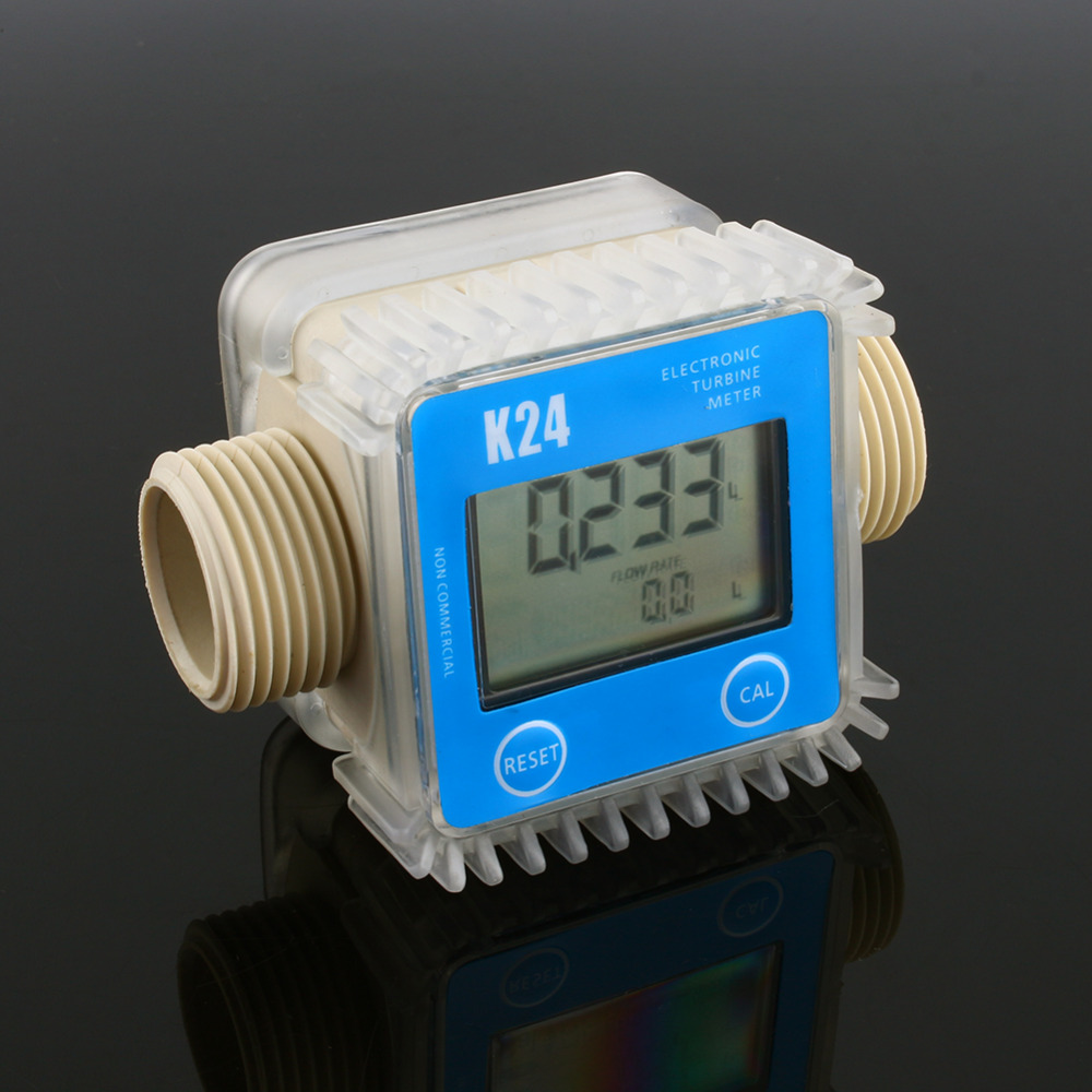 1 Pcs K24 LCD Turbine Digital Fuel Flow Meter for Chemicals Water Sea Adjust Color Blue Random new arrival pro k24 digital fuel flow meter for chemicals water random color free shipping