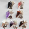 7pcs Beautiful Mixed Natural Stone pendulum & Tibet Silver Animal Pendant Bead R0020228