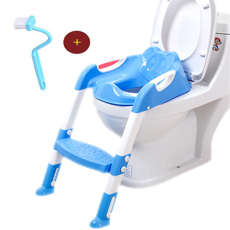 Baby Toilet Seat Baby Folding Potty Trainer Seat Chair Step With Adjustable Ladder Child Potty Seat Toilet With Free Brush penguin style baby potty toilet trainer