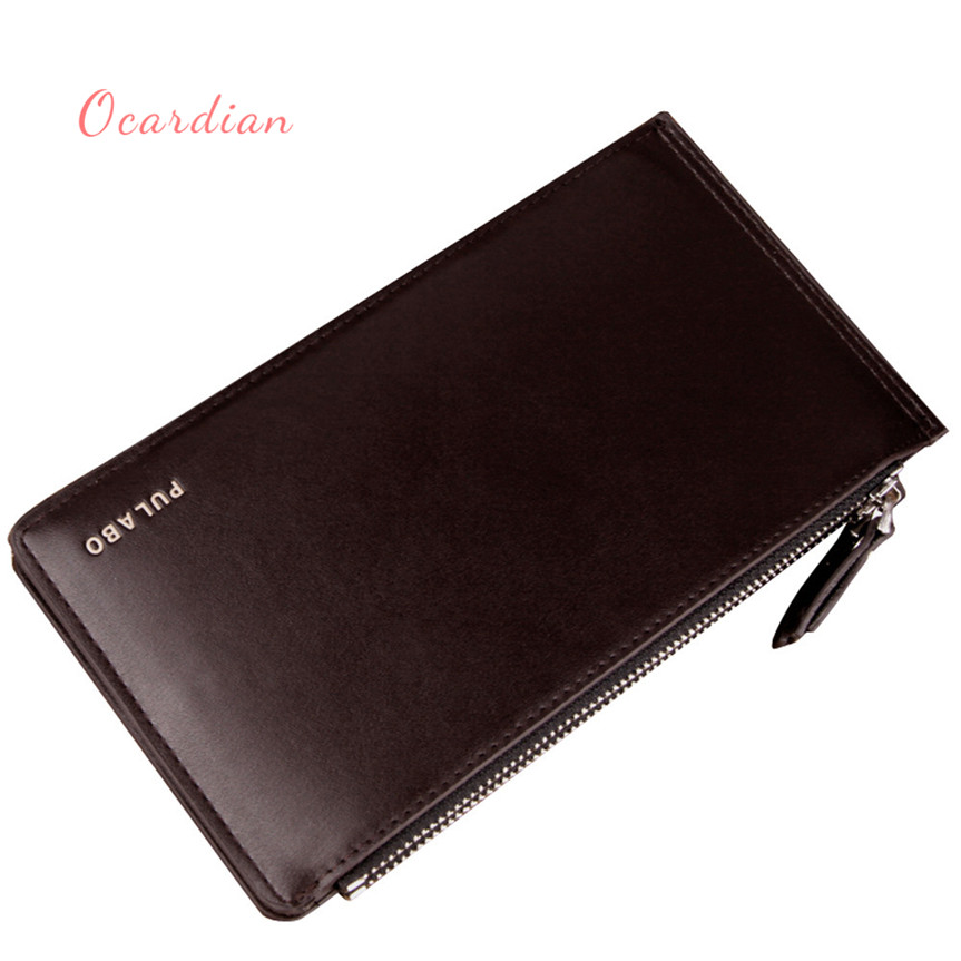 OCARDIAN monedero mujer Men Leather Card Cash Receipt Holder Ultra-Thin Zipper Wallet Purse Casual #30 2017 Gift