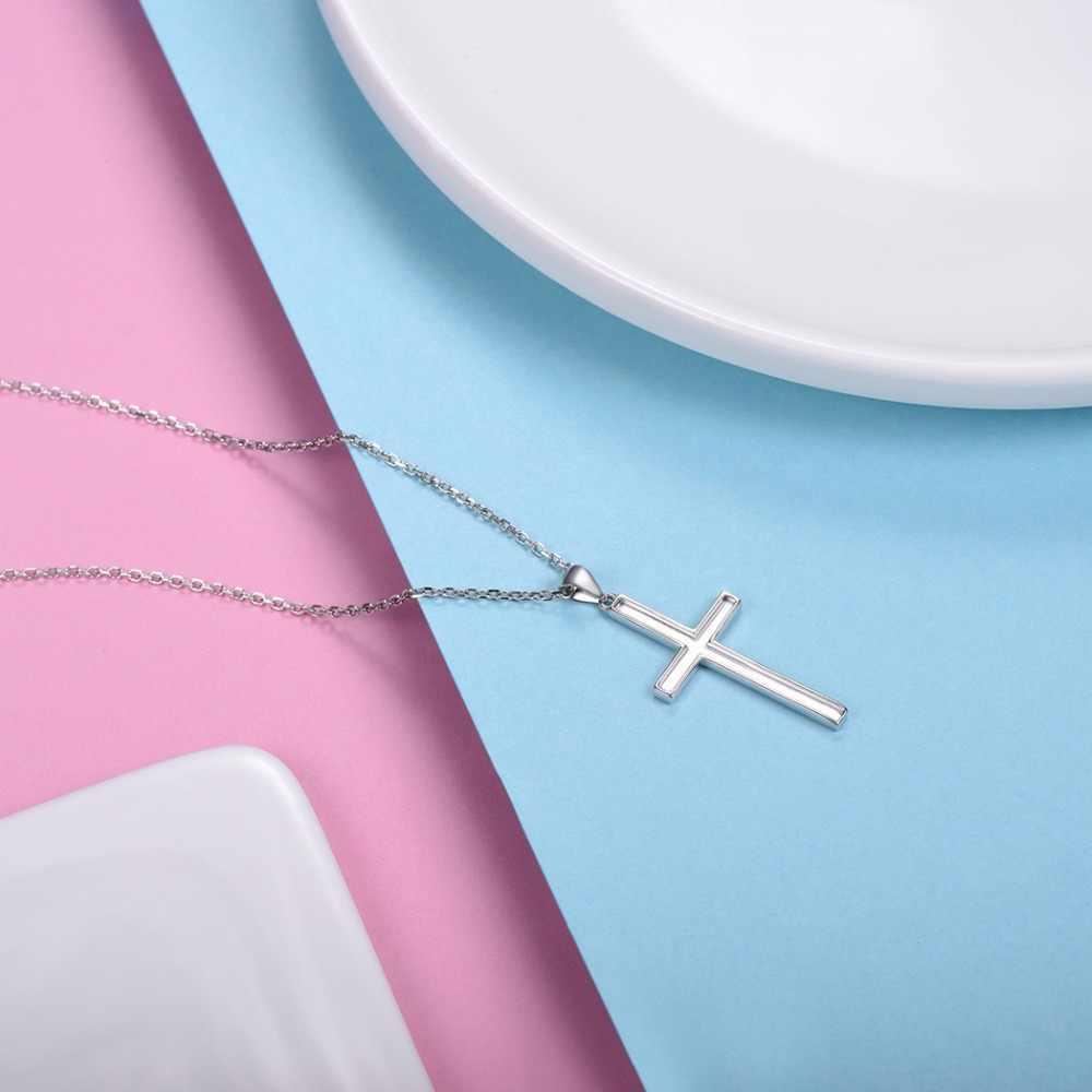 U7 100% 925 пробы серебряный крест кулон & Цепь минималистское ожерелье Рождественский подарок для женщин мужчин серебряные христианские ювелирные изделия SC13