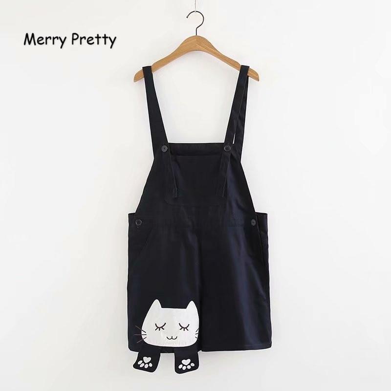 Merry Pretty New Summer Cute Mori Girl Style Navy Blue Cotton Strap Shorts Women Sweet Cat Embroidery Harajuku Girl Strap Shorts