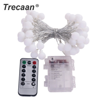5M50led matte white ball Christmas day decoration light string home garden decoration light string remote control 8 mode