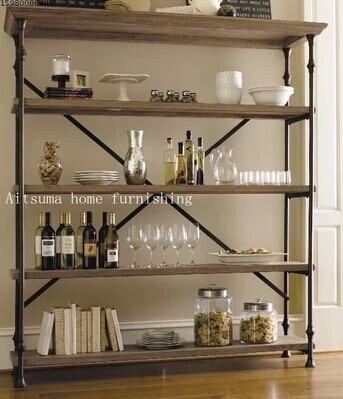 French Country Style Wrought Iron Wood Bookcase Shelves Shelving Loft Do The Old Retro Shelf