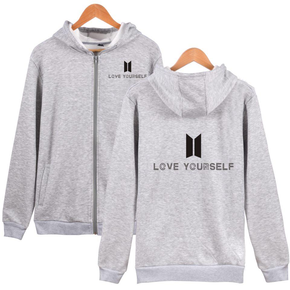 BTS Love Yourself Hoodies Men Winter Cotton Pullovers Bangtan Album Kpop Sweatshirt Men Casual Zipper Clothes