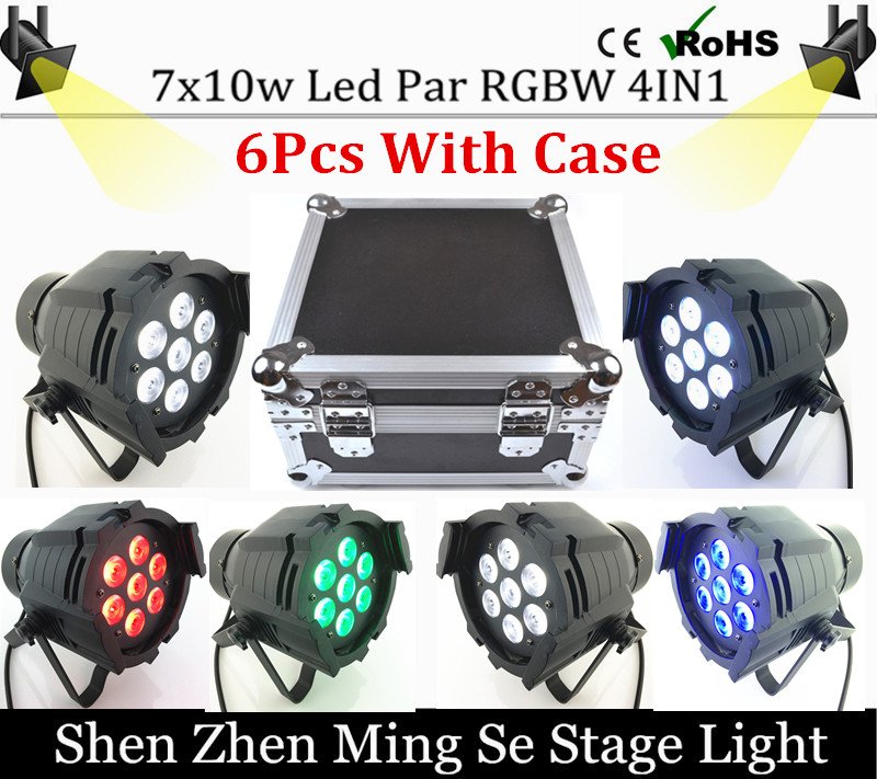 6units 7x10W Led Par Light DMX512,RGBW Led Par Light,Mini Led Par 4in1 Cheap Price aluminum Led Par Light  with flight case high quality compatible projector bulb poa lmp59 fit for plc xt16 plc xt3000 plc xt3200