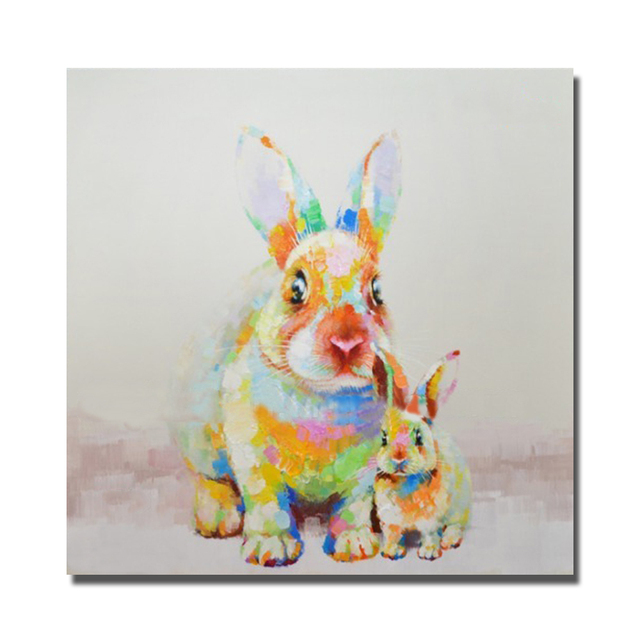 Lindo conejo animales encantadores lienzo al óleo abstracta pinturas ...