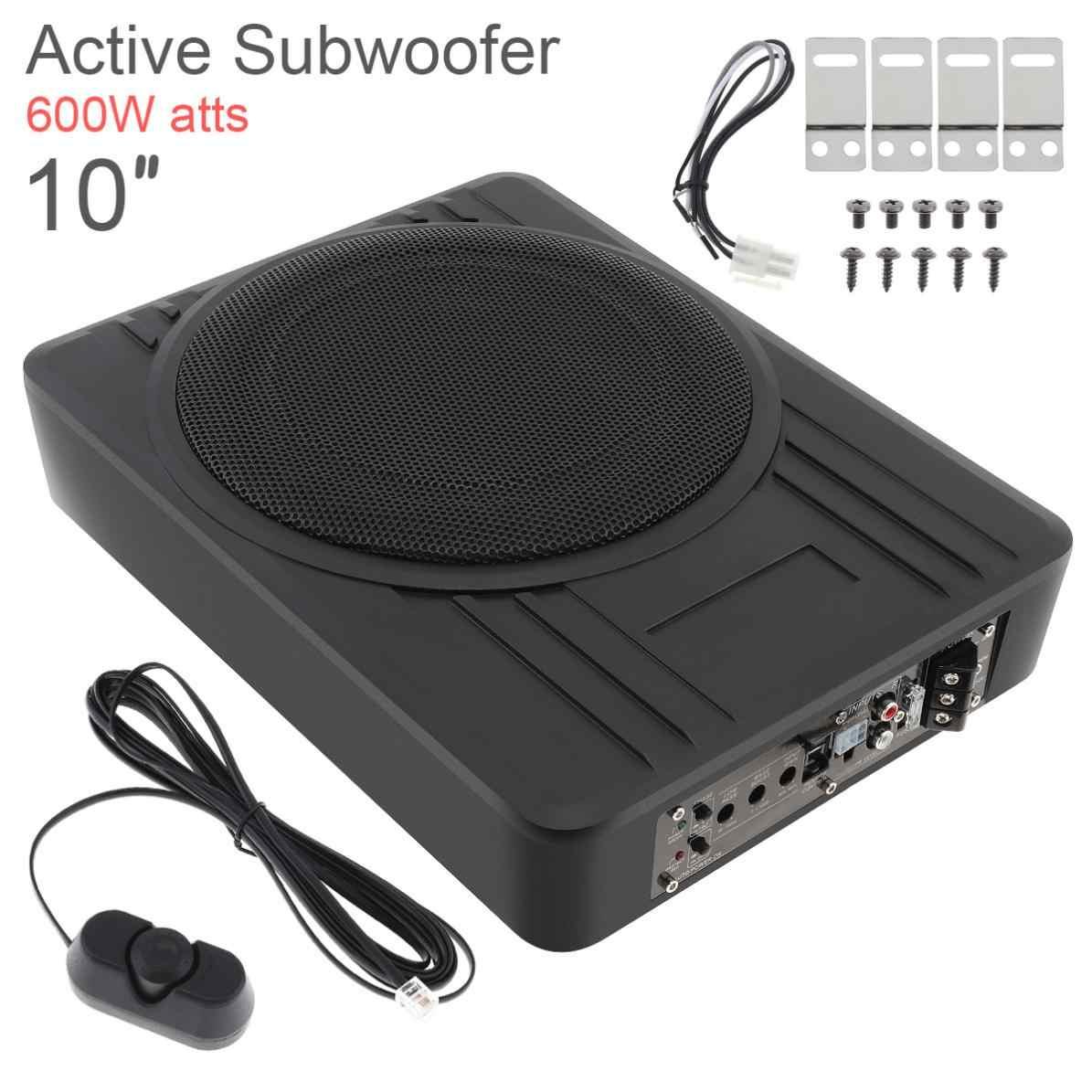 Black Universal 10 Inch 12V Fuselage Slim 600W Slim Under Seat Car Active Subwoofer Bass Amplifier Speaker