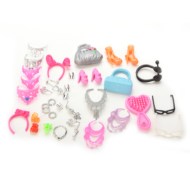4c7bfa75eb29 US $1.55 16% OFF|Mini Dolls Necklace Earring Bowknot Crown Bag Shoes Set  For Girls Gifts Doll Accessories-in Dolls Accessories from Toys & Hobbies  on ...