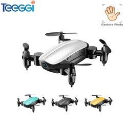 Teeggi T10 Mini Drone With Camera HD Foldable RC Quadcopter Altitude Hold Helicopter WiFi FPV Micro Pocket Selfie Dron VS S9 E61