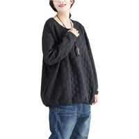 Autumn Winter 2017 Tracksuit Casual Loose Female Large Size Hoodies O Neck Pullovers Polka Dot Long
