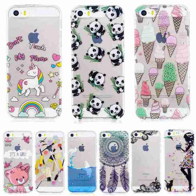 huge discount 3ed7e bbd8c US $3.9 |Cute For iphone 5s Case Clear Panda Cat Campanula Fashion Girl  Back Cover for iPhone 5 SE Cases Transparent Thin Luxury Coque-in Fitted  Cases ...