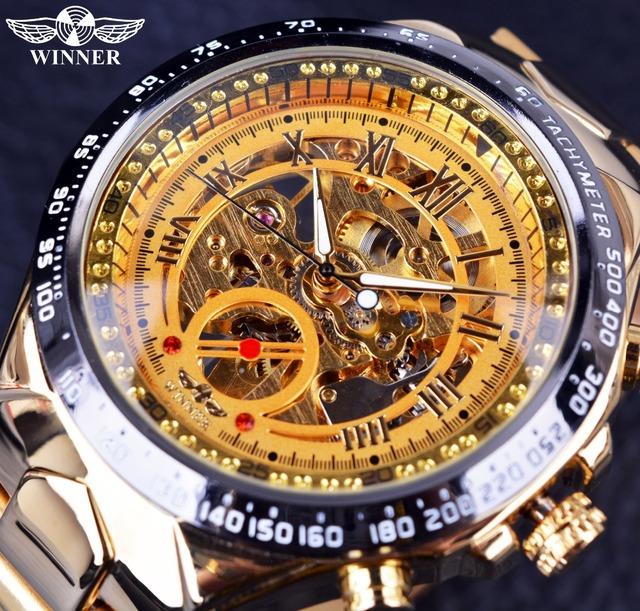 Ouro vencedor Nova Marca de Moda Elegante Relógio Homens de Aço Relógio Masculino Clássico Mecânica Auto Vento Esqueleto Vestido de Relógio de Pulso Presente