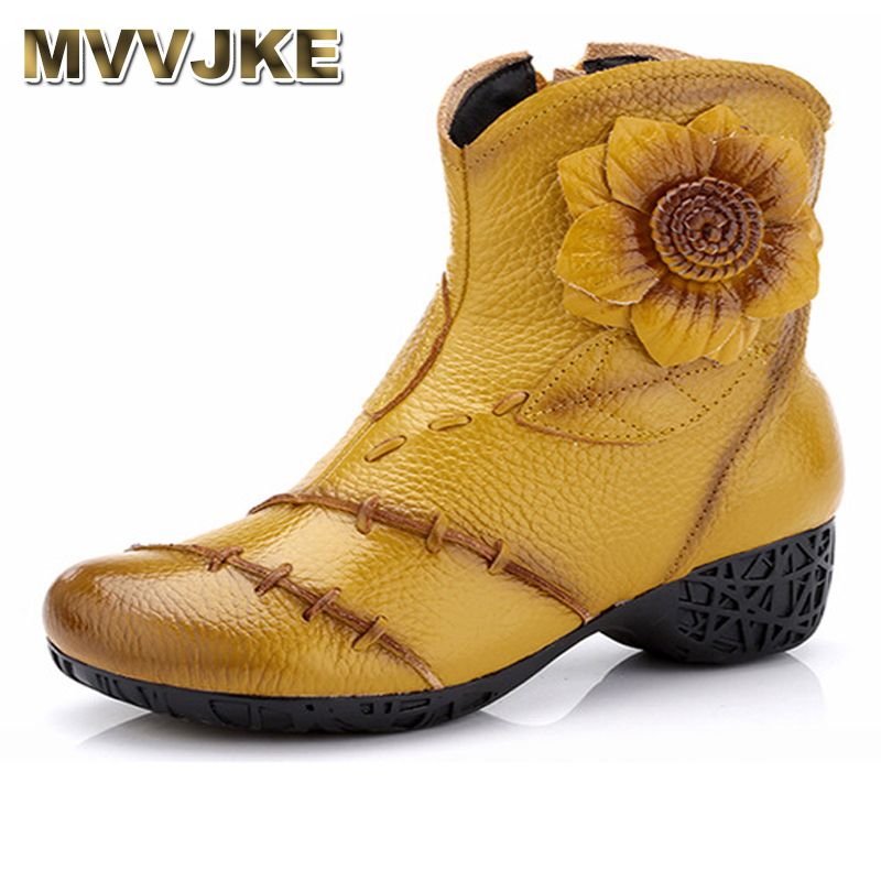 MVVJKE   Women Genuine Leather Boots 2018 Winter Fashion High Quality Soft Bottom Med Heels Ankle Boots Female Cowhide Floral MVVJKE   Women Genuine Leather Boots 2018 Winter Fashion High Quality Soft Bottom Med Heels Ankle Boots Female Cowhide Floral