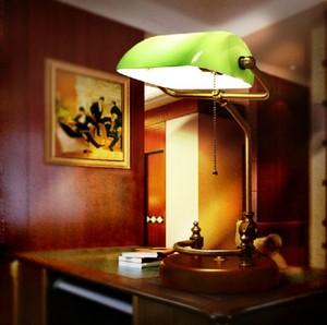 Image 3 - Lampe de Table banquier Vintage avec couvercle en verre de vert, Base en bois de bouleau, luminaire de bureau