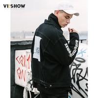 VIISHOW Mới Arrival Đen Denim Jacket Nam Nhãn Hiệu-Quần Áo Denim Giản Dị Áo Khoác Nam Hàng Đầu Chất Lượng Jaqueta Jeans Masculina JC1022181
