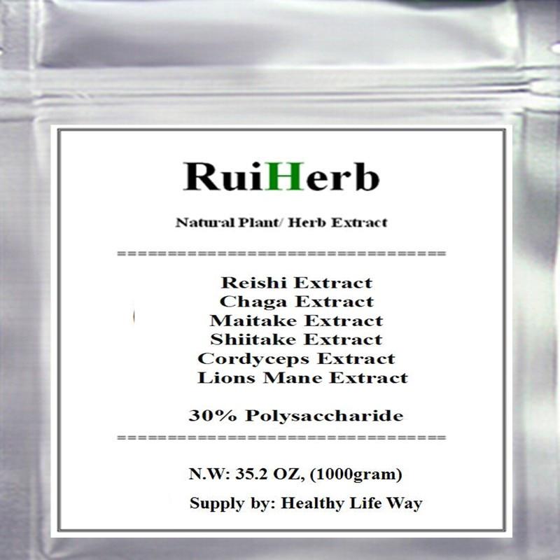 35.2oz, 1KG Top6 Mixed Mushroom Extract 30% Polysaccharide Chaga Reishi Cordyceps Maitake Shiitake Lions Mane Powder стоимость