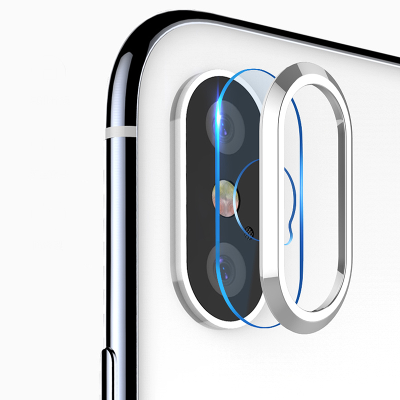 DCM Transparent Camera Lens Screen Protector For iPhone X 10 Tempered Glass+Metal Rear Camera Lens Protective Ring For iPhone X