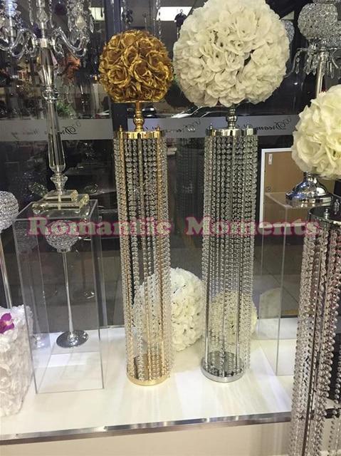 120cm Tall Gold Or Silver Wedding Crystal Pillar Flower Stand