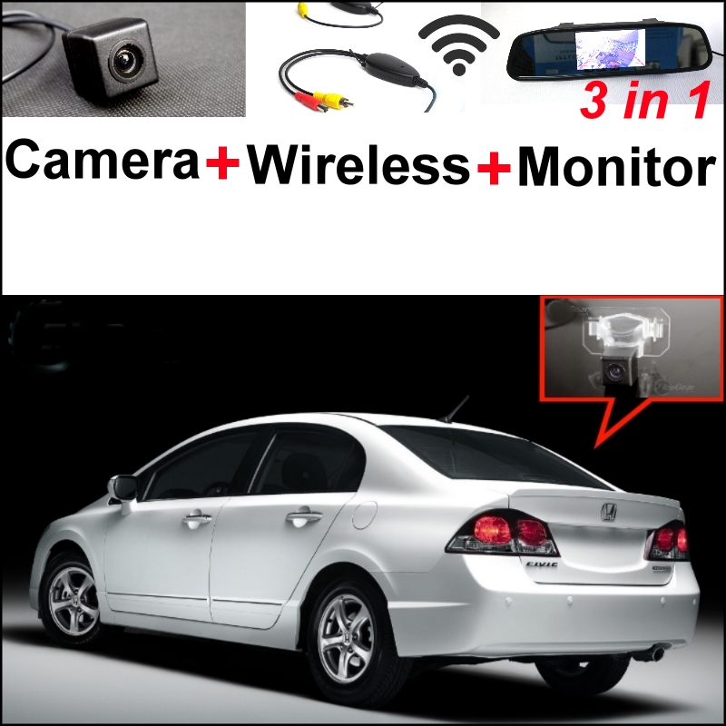 3 in1 Special Camera + Wireless Receiver + Mirror Monitor  Easy DIY Backup Parking System For Honda Civic 2006~2011 wireless pager system 433 92mhz wireless restaurant table buzzer with monitor and watch receiver 3 display 42 call button
