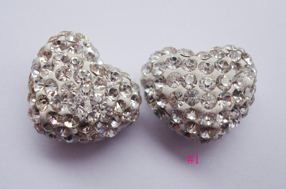 Honey 3pcs Beads 12x15mm Premium Crystal Crysty Polymer Clay Heart Bead,pave Heart Bracelet Findings Loose Charms Beads Large Assortment Arts,crafts & Sewing Home & Garden