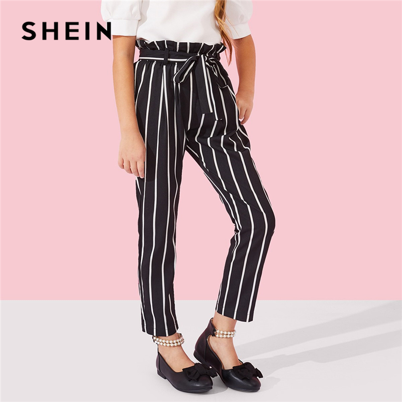 все цены на SHEIN Elastic Waist Ruffle Waist Belted Striped Girls Pants 2019 Spring Fashion Casual Trousers Elegant Pants Girl Kids Clothes