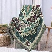 3 Farben Bohemian Baumwolle Gestrickte Dekorative Sofa Decke Gewinde Decke für Betten Weiche Bett Karierten Vintage Wohnkultur Tapisserie