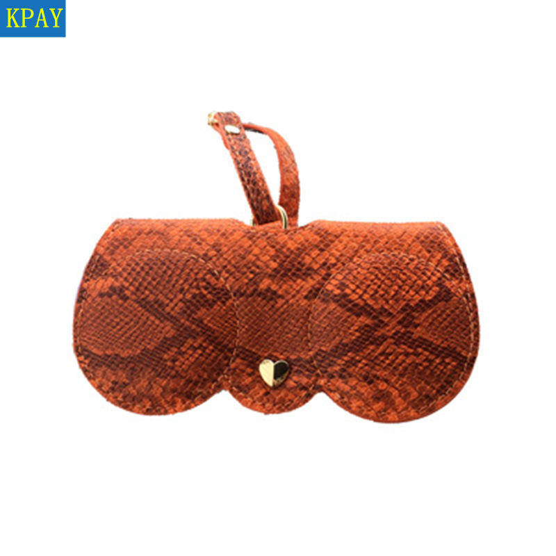 2019 Snakeskin Pattern Women Portable Case PU Leather Fold-able Sun Eye Glasses Box For Eyeglass Sunglasses Cute Protection Bag