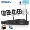 Juego de Audio inalámbrico NVR 4CH 1080P HD con enchufe y reproducción mimecu P2P 1080P 2MP para cámara de interior y exterior sistema WIFI CCTV a prueba de agua