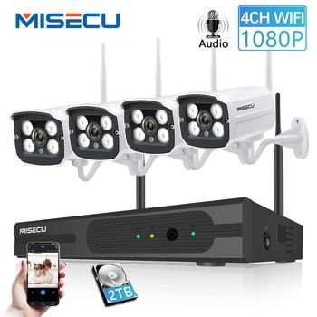 MISECU Plug and Play 4CH 1080 P HD sans fil NVR Kit P2P 1080 P 2MP intérieur extérieur caméra Audio enregistrement étanche CCTV WIFI système