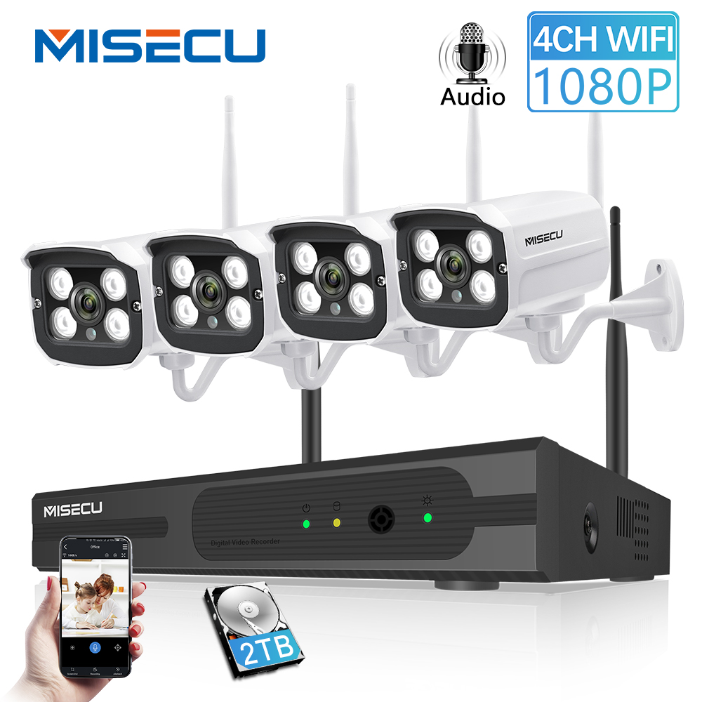 Misecu plug and play 4ch 1080 p hd sem fio nvr kit p2p 1080 p 2mp câmera ao ar livre indoor gravação de áudio cctv sistema wi-fi à prova dwaterproof água