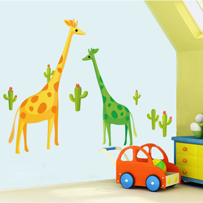 Yellow And Green Kids Room Ideas: Cute Green Yellow Giraffe Wall Stickers For Kids Rooms